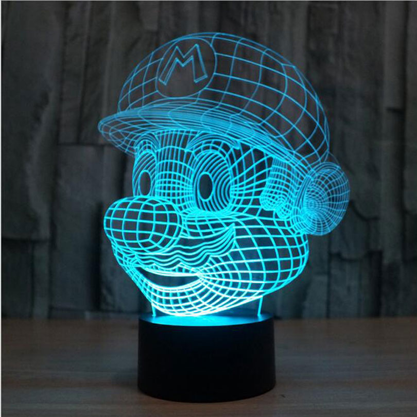 Super Mario Bros Action Figure Toy Decoration Light LED USB 7 Colors Changeable 3D Touch Night Light FOR Home Party Decoration for decoration
