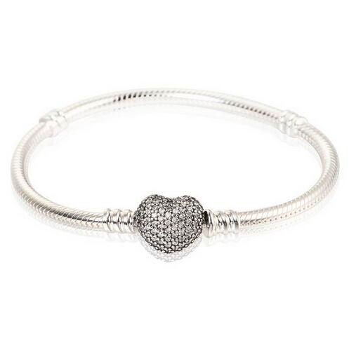 Bracelets en argent sterling 925 Bracelet serpent européen avec fermoir coeur en zircon cubique pour femmes et hommes bijoux bricolage YL018