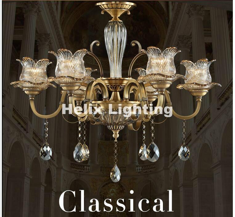 Newly Antique Crystal Chandelier Lingting Luxurious Metal Brass Color Crystal Lamp <font><b>Lustre</b></font> Suspension E14 <font><b>LED</b></font> Light AC Lighting