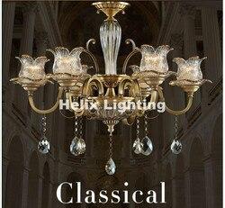 Nowo antyczne kryształowy żyrandol Lingting luksusowy Metal mosiądz kolor kryształ lampa Lustre zawieszenie E14 LED Light AC oświetlenie