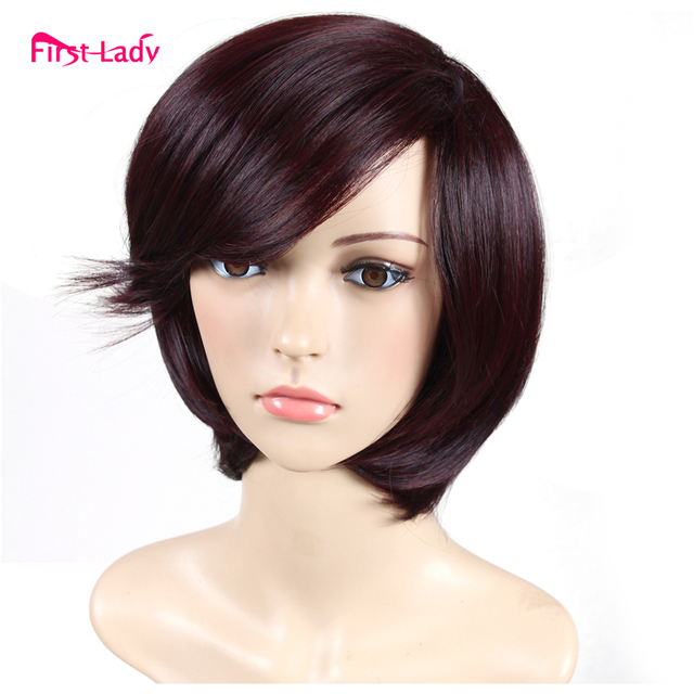 Short Bob Wigs With Bang Natural Hair Heat Resistant Synthetic Wigs For Black Women Perruque Synthetic Women Red Wig Brown