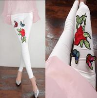 Fashion Womens Fleece Thicken Black White Flower Floral Butterfly Embroidery Slim Pencil Pants Strench Plus Size
