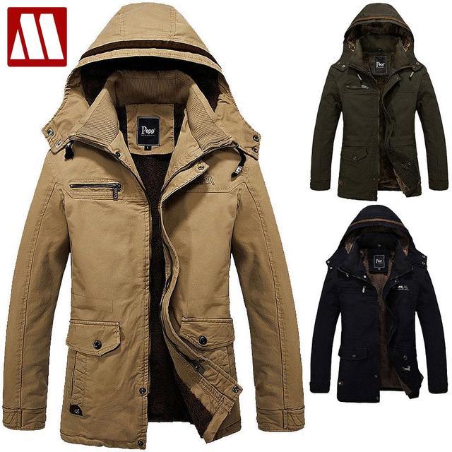 2018 Wintet Casual Mens Fur winter Coats Army Green Outwear ...