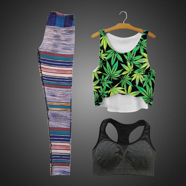 Hot Women's Yoga set 3-in-1 (bra + vest + Yoga pants) quick-drying breathable sportswear leggings tight pants yoga 3-piece suit hw2016 new arrival new 3d printing purple starry sky elastic breathable vest leggings yoga set