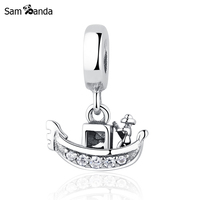 Authentic 925 Sterling Silver Bead Charm Cute Boat With Crystal Pendant Beads Fit Pandora Bracelet Bangle