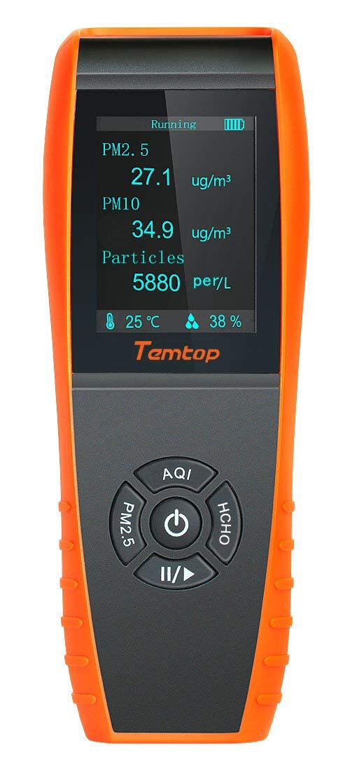 Temtop Air Quality Detector Professional Formaldehyde Monitor Temperature Humidity with PM2.5/PM10/HCHO/AQI/Particles