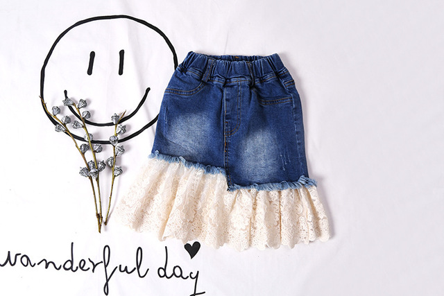 2017 Korea Girls Lace Jeans Skirts Fashion Children Clothes Princess Sweet Tulle Jeans Slim Skirts Kids Party Girls Clothes