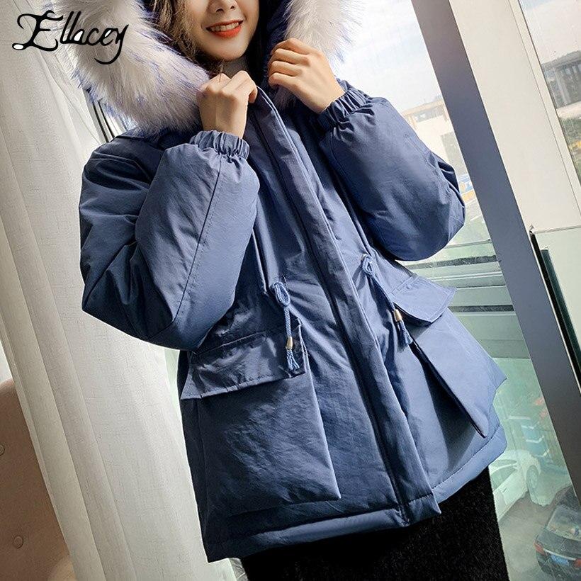 2018 Modo blu Addensare Con Pelliccia Di bianco Il Warm Felpa Donna Giacca Inverno Femminile Invernale Cappuccio colore Donne Cappotti Rosa Parka Ellacey Nero Tasche Outwear t1qT6