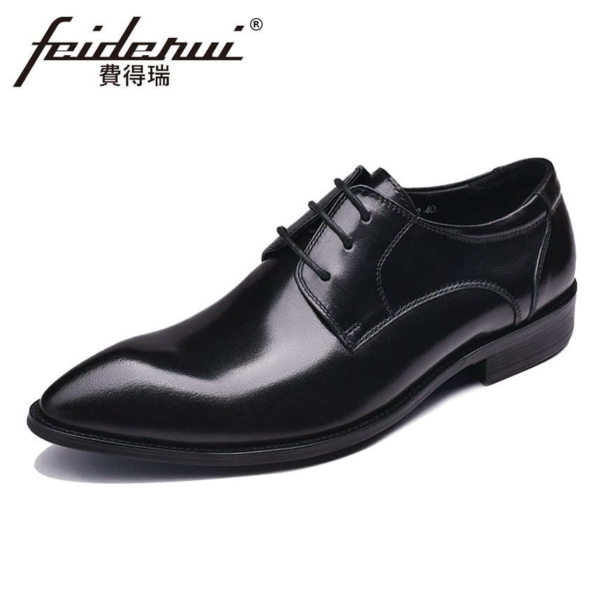 Italian Genuine Leather Mens Formal Dress Wedding Party Footwear Pointed Toe Lace-up Derby Man Office Handmade Shoes YMX412