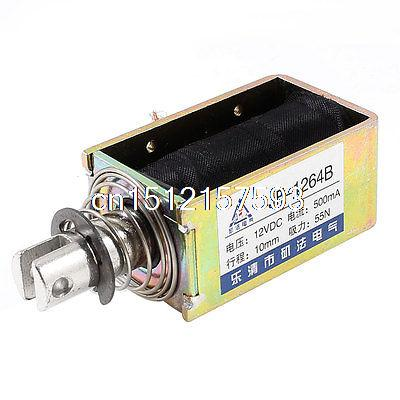 10mm Stroke 5.5Kg Force Push Pull Open Frame Solenoid Electromagnet DC 12V 0.5A 1x pull hold release10mm stroke 0 41kg force electromagnet solenoid actuator 12v