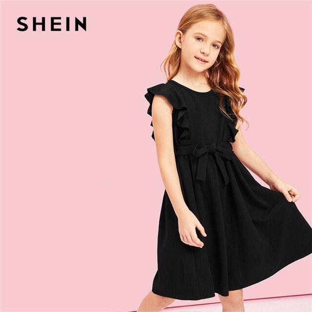 Шеин детский черный рябить поясом проймы Линия вечерние Летнее платье для девочек 2019 без рукавов Повседневное дети Платья для девочек, одежда