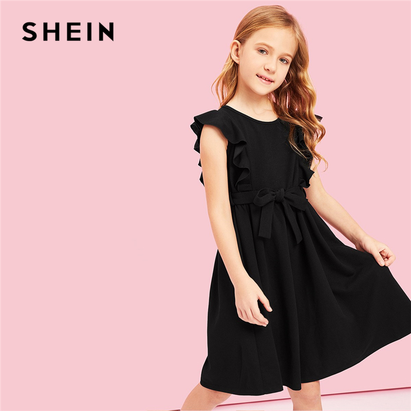 все цены на SHEIN Kiddie Black Ruffle Belted Armhole A Line Party Girls Summer Dress 2019 Sleeveless Casual Kids Dresses For Girls Clothes