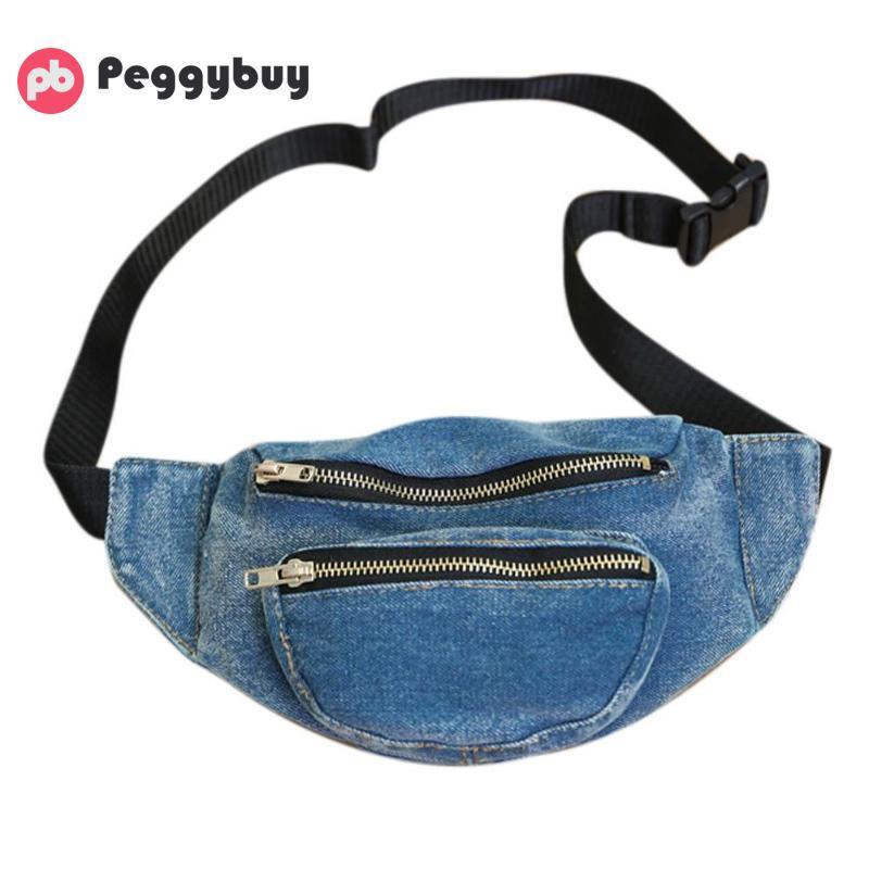 Denim zipper waist bag women 2018 fanny pack for women belt bags for women 2018 heuptas belt bag pochete feminina bolsos mujer stylish mid waist cuffed denim ripped shorts for women