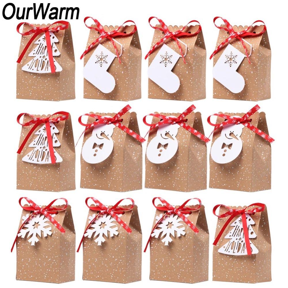 OurWarm 12 stücke Weihnachten Geschenke Kraft Papier Candy Tasche ...