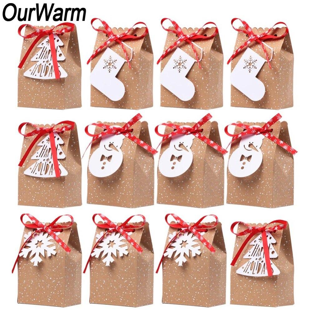 Bolsa unids de dulces de Papel Kraft de navidad de 12 piezas de regalo de navidad de Año Nuevo 2019 bolsas de regalo de navidad con etiqueta de muñeco de nieve de copo de nieve navidad