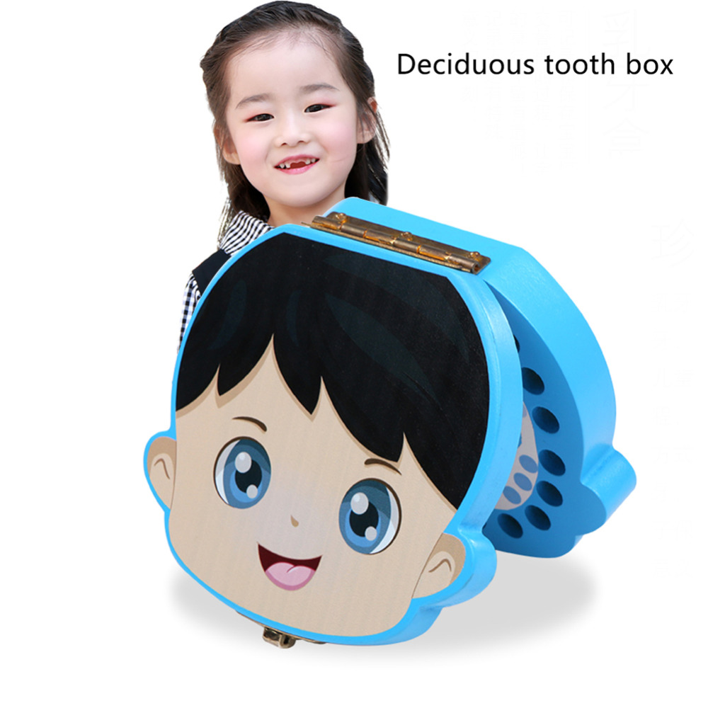 Cute Wood Tooth Box Baby Tooth Keepsake Storage Box Milk Teeth Save Organizer Case Container English Case
