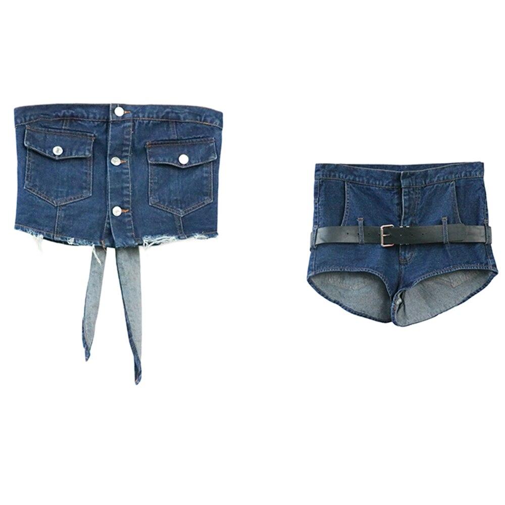FTGSDONG 2019 Лето 2 шт Джинсовый комплект из двух частей шорты и топ комплект уличный стиль на шнуровке Топ без бретелей + сексуальные мини ремень для шортов - 3
