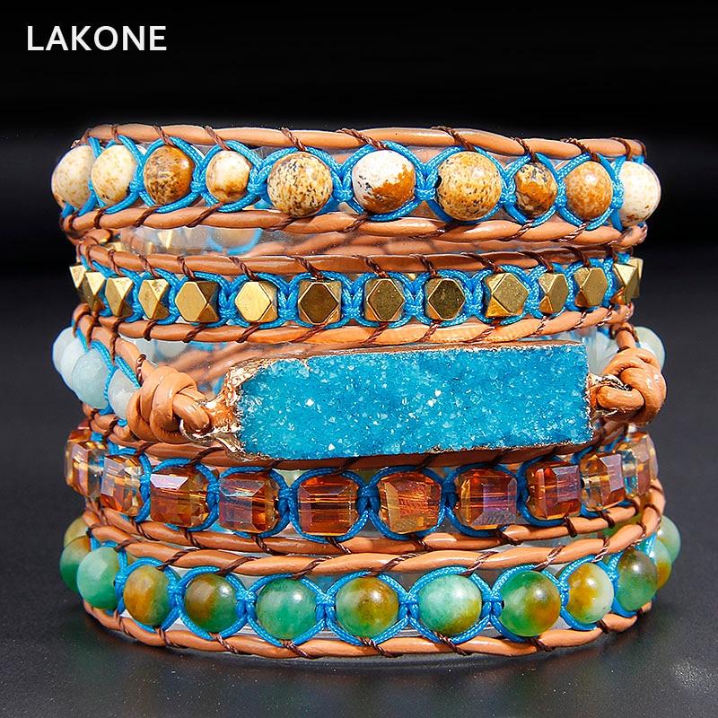 2018 Boho Handmade Beaded Leather Bracelet Blue Druzy Ocean Stones Charm 5 Strands Wrap Bracelets Men Women Fashion Jewelry allyes women leather bracelet femme metal charm cystal bohemian female multilayer wide wrap bracelets