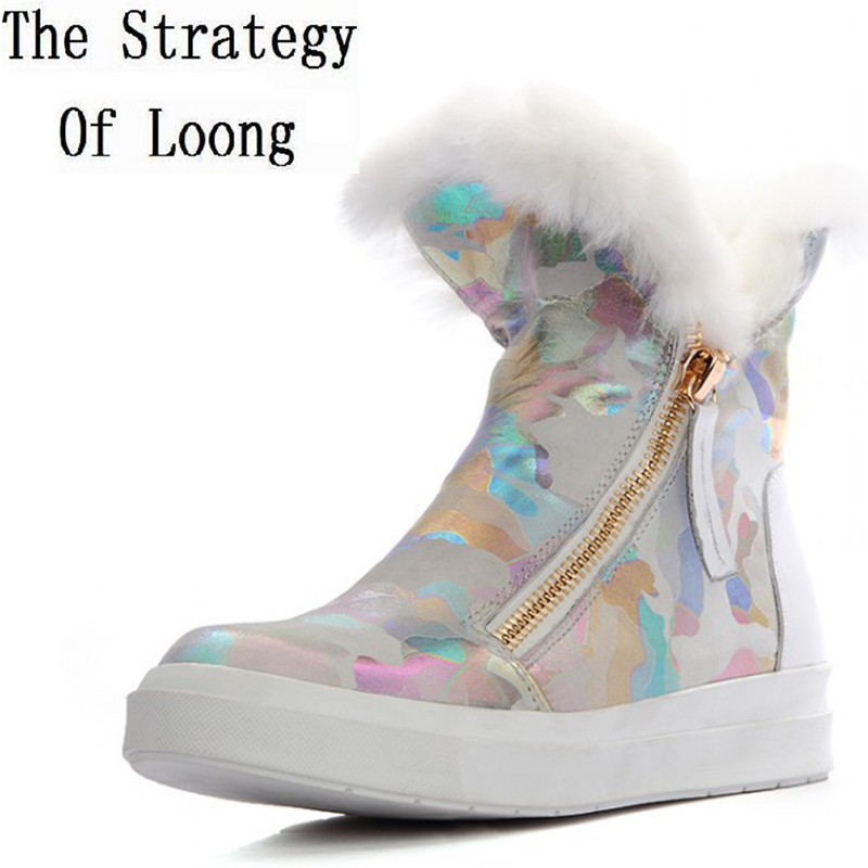 European American Style Women Winter Flats Chunky Heel Genuine Leather Side Zipper Round Toe Fashion Ankle Snow Boots SXQ0807 women winter flats chunky heel genuine leather round toe embroidery fashion warm snow ankle boots size 34 39 sxq01005