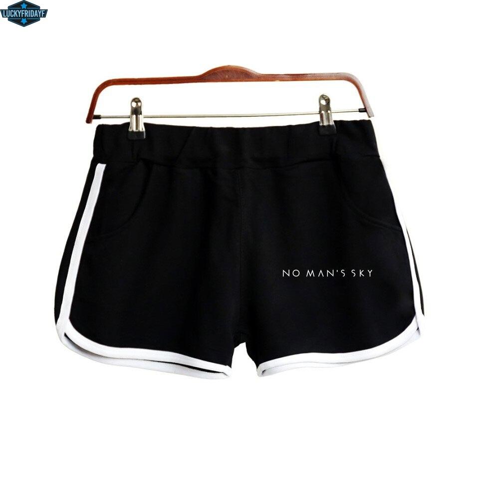 2018 Fashion No Man's Sky Summer Short Women's Home Casual Short Lady Elastic Waist Cotton Shorts  Solid Beach Mini Short XS-2XL