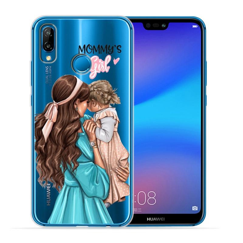 Чехол для телефона с черными и коричневыми волосами для мамы и дочки Huawei P30 Lite P30 Pro P20 Lite P8Lite P9Lite P10 P Smart Capa - Цвет: 12