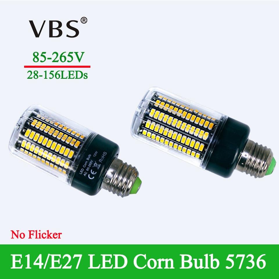 SMD 5736 No Flicker Smart IC Design E27 E14 Led Lamp Light Super bright AC85-265V 28 40 72 108 132 156 LEDS led bulb Corn Light 2pcs real full watt 3w 5w 7w 8w 12w 15w e27 e14 led corn bulb 85v 265v smd 5736 led lamp spot light 28 40 72 108 132 156 leds