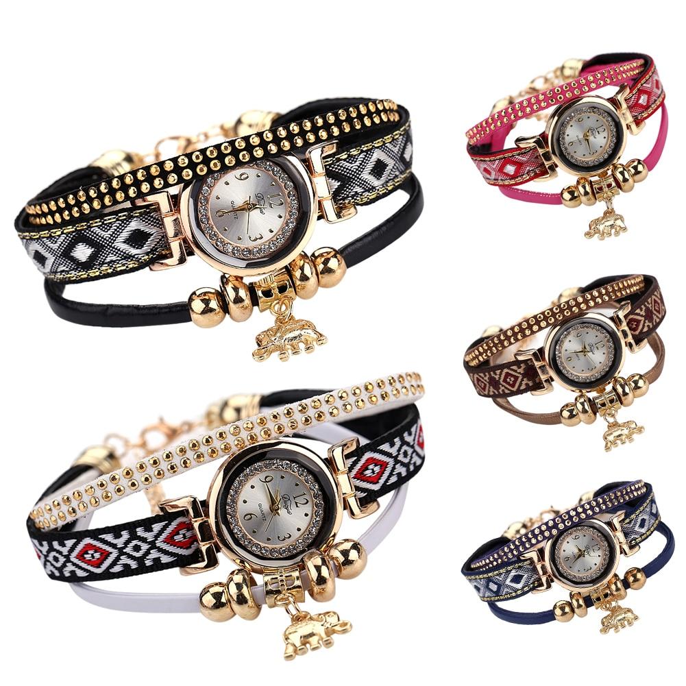 Duoya Popular Brand Watch Women 2018 Gold Elephant Pendant Luxury Bracelet Watch Lucky Female Girl Casual Electronic popular brand watch women gold bracelet weave leather