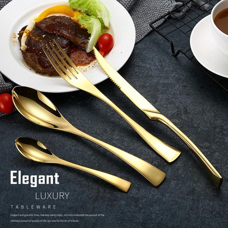 4ks černá růže stolní sada top kvalita stříbrná nerezová ocel večeře nůž lopatky vidličky zlatá příbory sada pro dárek  t