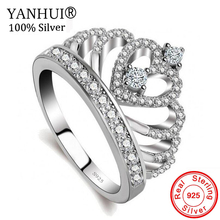YANHUI Gift To Lovers Crown Ring 5A Zircon CZ 925 Sterling Silver Filled Engagement Wedding Band Rings for Women Bride LKRA017 недорого