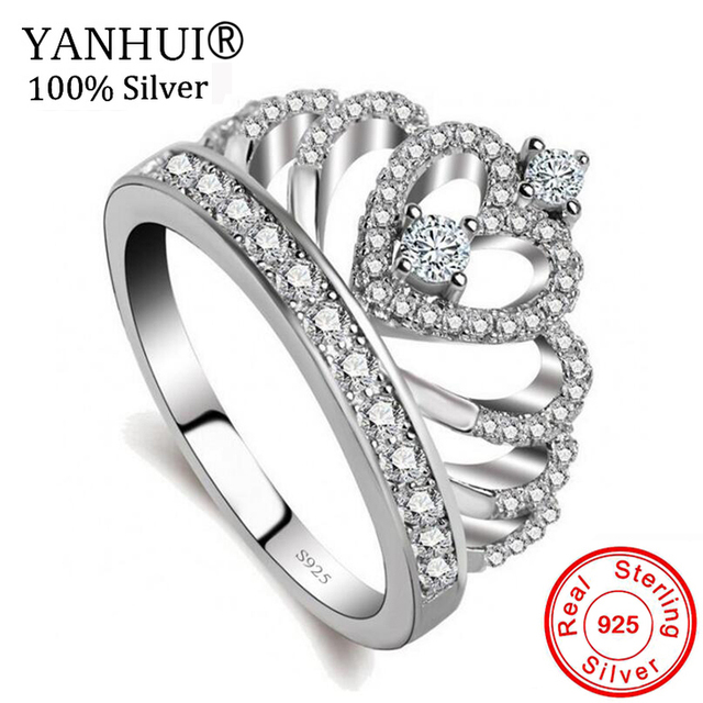 YANHUI Gift To Lovers Crown Ring 5A Zircon CZ 925 Sterling Silver Filled Engagement Wedding Band Rings for Women Bride LKRA017