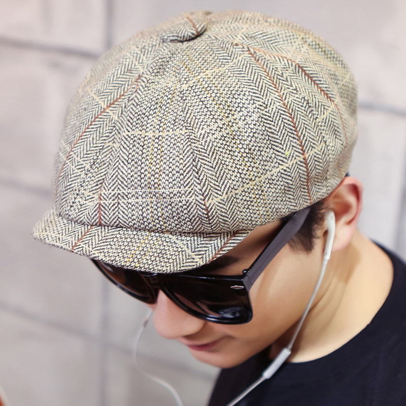 Bigsweety Vintage Men's Cotton Blend Striped Cabbie Newsboy Caps High Quality Flat Octagonal Golf Driving Hat Accessories