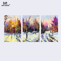 Big Size Winter tree Colorful Abstract Art home decor 3 pcs living room decoration canvas oil painting wall hanging unframed