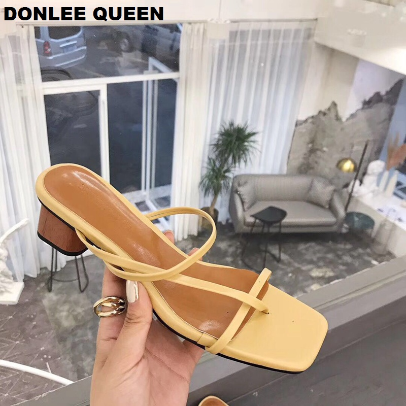 Fashion Women Brand Slippers Wood Heel Narrow Band Vintage Sandals Solid Slip On Low Heel Slides Summer Slippers Sandalias Mujer