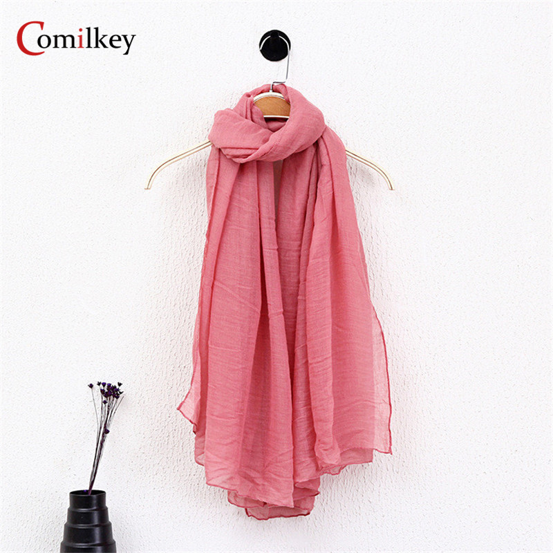 Solid Color Linen Scarves Cape Shawl Ultra Luxury Brand Muslim Hijab Muffler Scarf Candy Color Gift Womens Scarves Length180cm