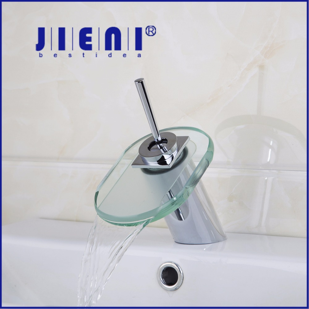 Glass Square Bathroom Basin sink Faucet waterfall bathroom vanity ...