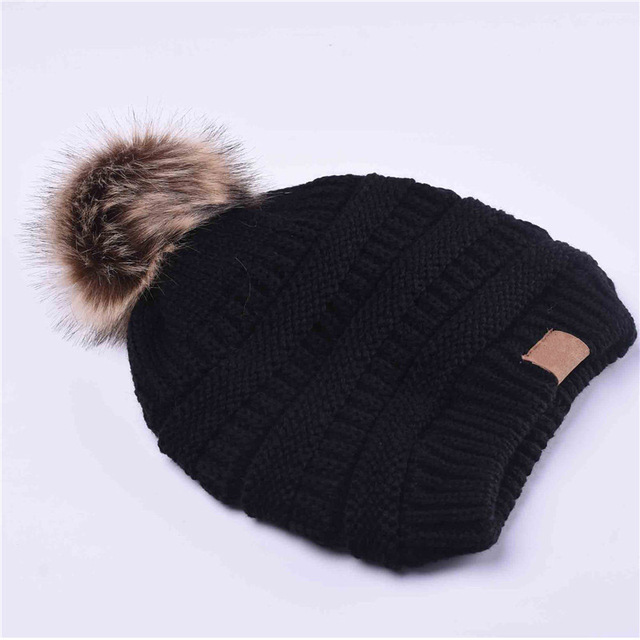 Woman Winter Hat Beanie C Faux Fur Pom Pom Ball For Hats Knitted Cap Skully Warm Ski Hat Trendy Soft Brand Thick Female Caps