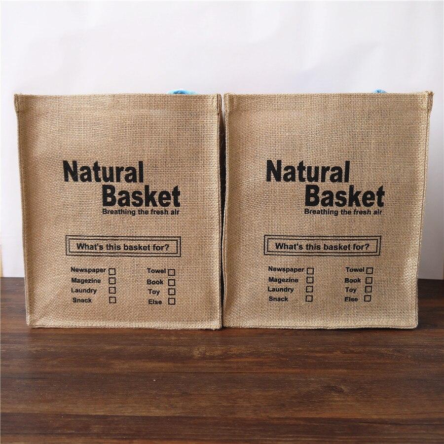 jute zakka επιφάνεια αποθήκευσης κουτιά φυσικό καλάθι κουτί αποθήκευσης σακούλες Σύντομη πλύσιμο κουβά αποθήκευσης υφασμάτινο καλάθι σακούλα φιλικό προς το περιβάλλον