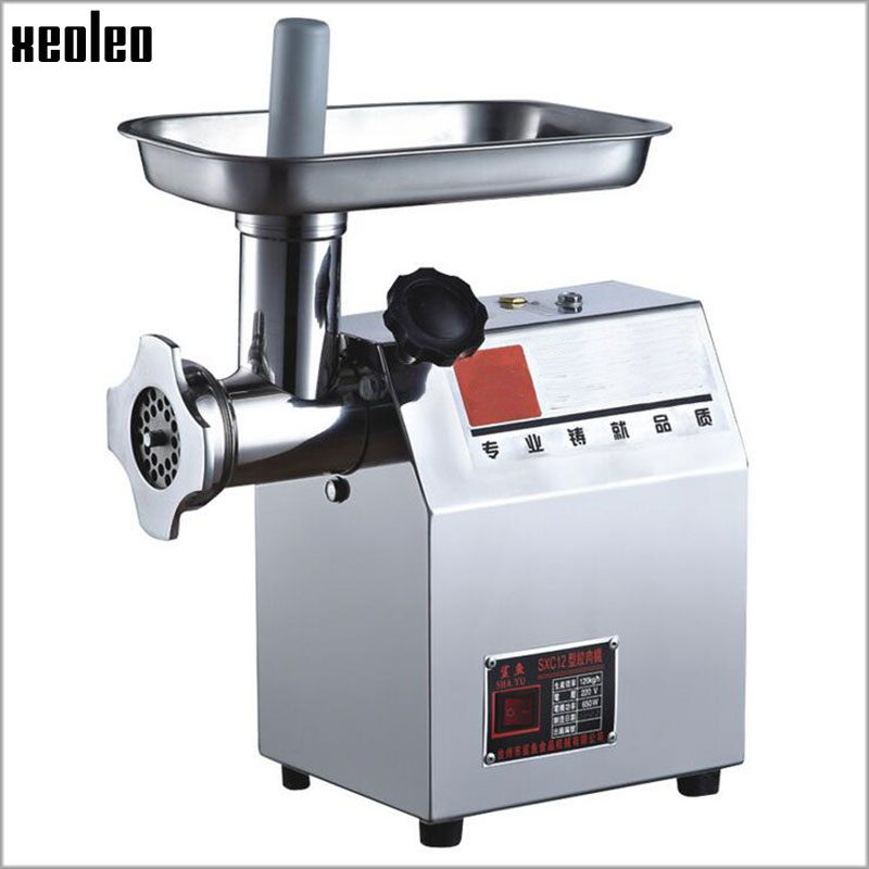 Xeoleo Commercial meat grinder 80kg/Hr Meat mincer 6/8MM thickness Stainless steel Automatic Meat grinder machine 220V/50HZ 370W commercial electric meat grinder stainless steel desktop meat grinder 60kg h 220v suitable restaurant use