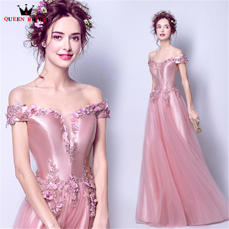 QUEEN BRIDAL   Evening     Dresses   A-line Satin Tulle Lace Beaded Prom Party   Dress     Evening   Gowns 2018 New Design Vestido De Festa JW04