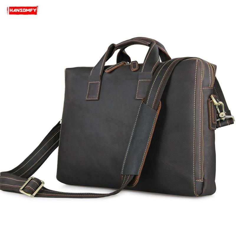 New Genuine Leather Business Men's Briefcase Laptop Handbag Cowhide Leather Strap Shoulder Bag Computer Messenger Crossbody Bags
