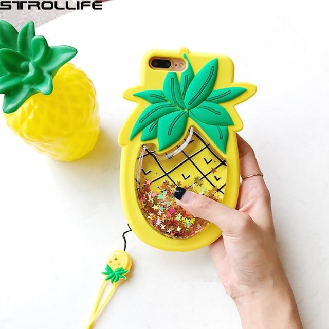 be828c17c 3D Abacaxi Dinâmico Areia Movediça Líquido Glitter Dourado Phone Cases Para  iPhone 6 s 7 7