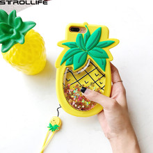 3D Pineapple Dynamic Liquid Quicksand Golden Glitter Phone Cases For iPhone 6s 7 7Plus Fidget Stress Reliever Soft Silicon Cover