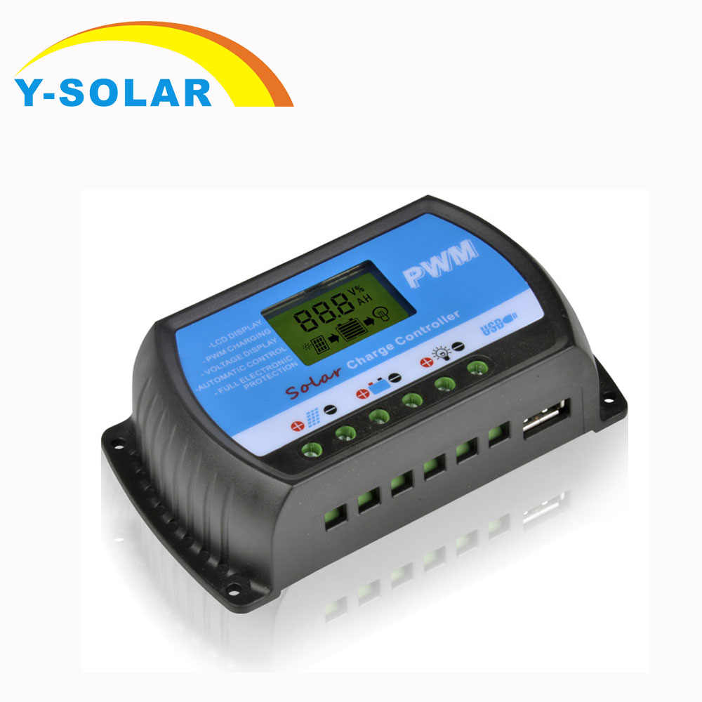 30A 20A 10A Solar Charge Controllers LCD PWM with DC 5V USB 12V 24V Auto Switch Solar Panel Voltage Regulator RTD Series Y-SOLAR