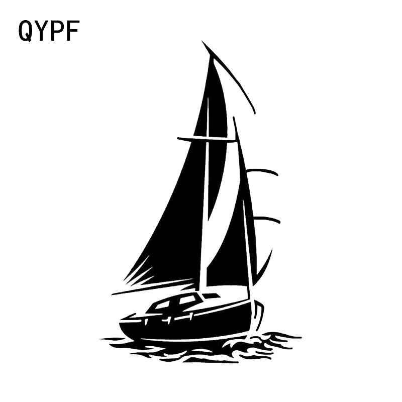 QYPF 10*16CM מצחיק יאכטה סירת ספינה ים גלי אוקיינוס דקור רכב מדבקה באיכות גבוהה צללית ויניל אבזרים c16-1092