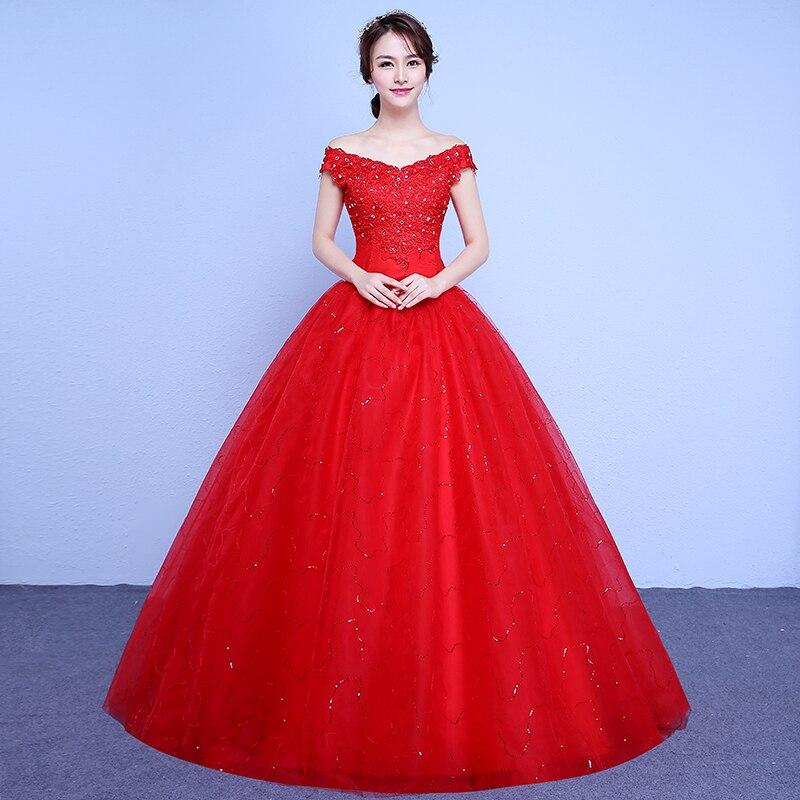 2017 new stock plus size women bridal gown wedding dress white red ...