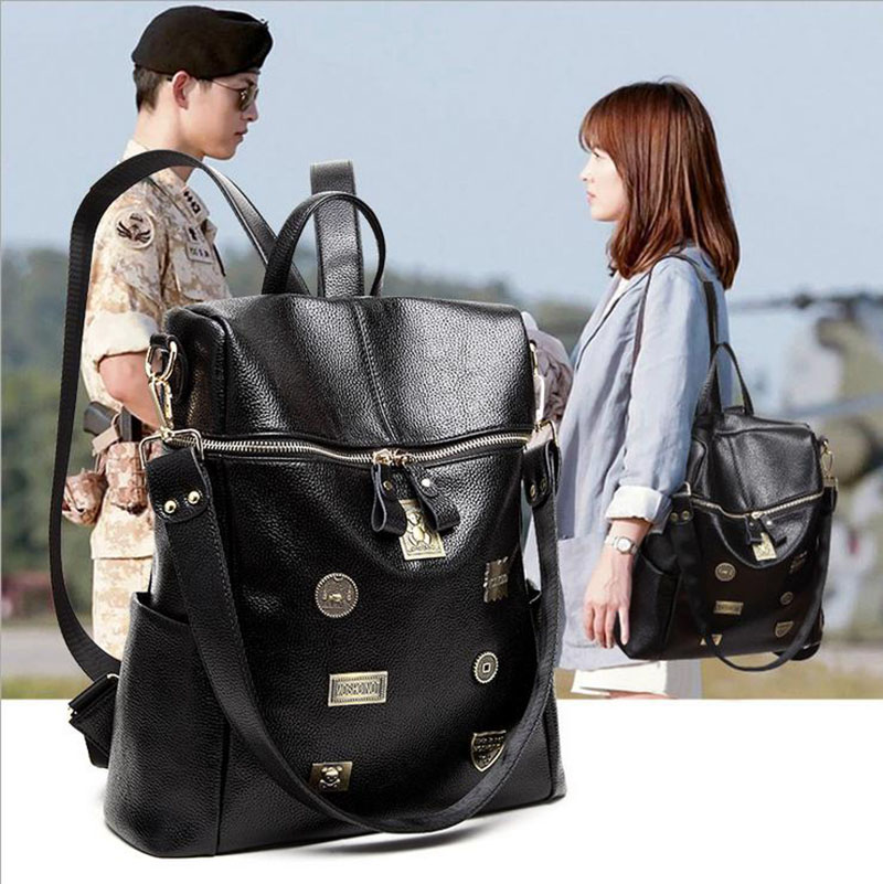 2017 High Quality PU Leather Women Backpack School Bags For Teenagers Girls Female Trave ...