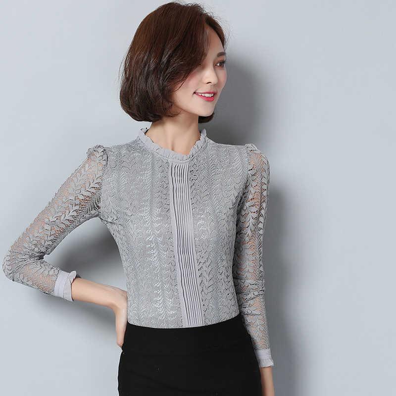 Yeni 2018 moda dantel kadın bluz gömlek uzun kollu ince gri kadın giyim artı boyutu hollow out kadınlar tops bluasa C903 30