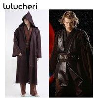 Star Wars Анакин Скайуокер джедай Костюмы для косплея Хэллоуин одеяние плащ равномерное мужской набор коричневый костюм