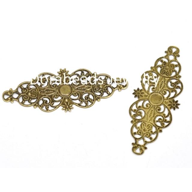 8SEASONS 50 Bronze Tone Filigree Flower Wrap Connector 6.1x2.4cm (B13809),