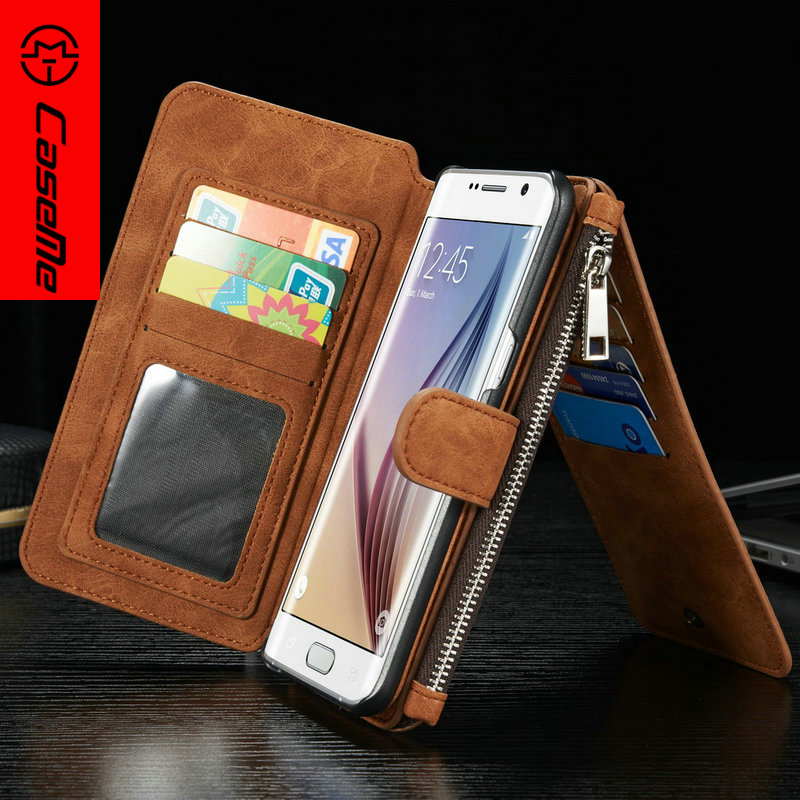 S7 S7edge Case CaseMe Genuine Leather For Samsung Galaxy S6 S6edge S6edge Removable 2 in 1